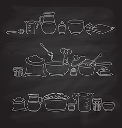 Kitchen utensils on the blackboard vector