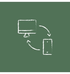 Synchronization computer with mobile device icon vector