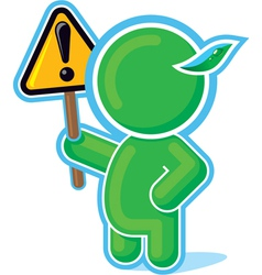 Green hero with warning sign vector