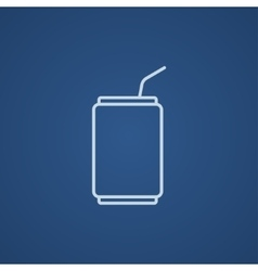 Soda can with drinking straw line icon vector