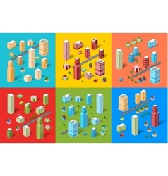 Isometric city set vector