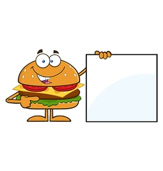 Chef Hamburger Cartoon Holding a Sign vector image