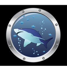porthole and a shark vector image