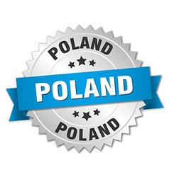 Poland round silver badge with blue ribbon vector