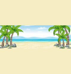 A tropical coastal landscape panorama vector