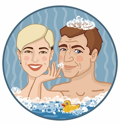Boy and girl in foamy water vector