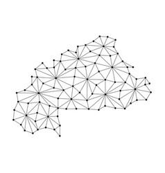 burkina faso map of polygonal mosaic lines network vector image