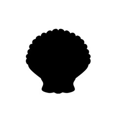 Clam mollusc black silhouette aquatic animal vector