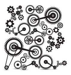 cogs gears retro machinery symbol vector image