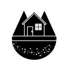 Contour nice house in the forest witn mountains vector