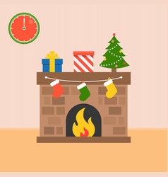 decorated fireplace and present boxes with socks vector image vector image