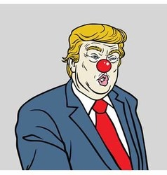 Donald trump wearing red nose cartoon vector
