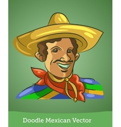 doodle Mexican isolated on green background vector image vector image