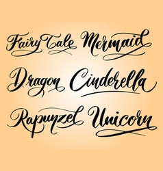 dragon and mermaid hand written typography vector image