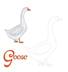 Educational game connect dots to draw goose bird vector