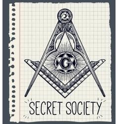 Freemasonry emblem masonic compass symbol vector image vector image