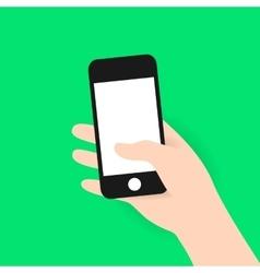 Hand holding modern black flat mobile phone vector image