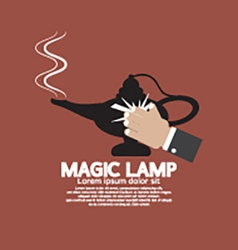 Hand wiping the magic lamp vector