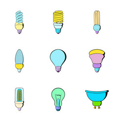 Illumination icons set cartoon style vector