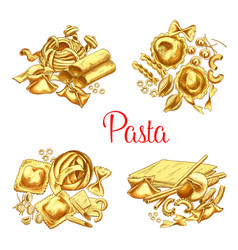 Italian pasta icons set for restaurant vector