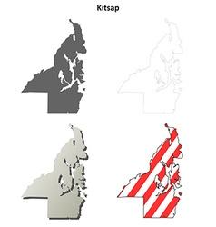 Kitsap map icon set vector