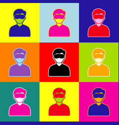man with sleeping mask sign pop-art style vector image