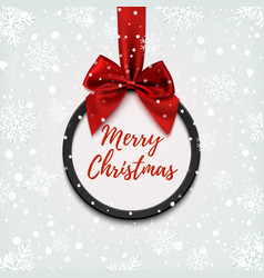 Merry christmas black round banner vector