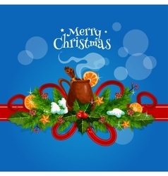 Merry christmas card with mulled wine vector