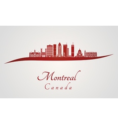 Montreal V2 skyline in red vector image