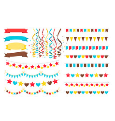 multicolor garlands flags and pennant vector image