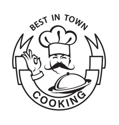 mustachioed chef image vector image vector image
