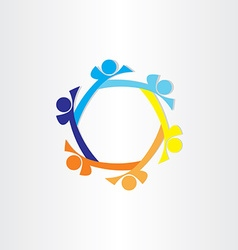people in circle abstract icon design vector image vector image