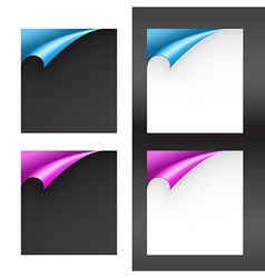 Set of black and white papers with bent corners vector