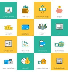 Set of finance and money icons vector image vector image