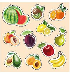 Set of fruit stickers vector