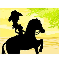 Silhouette of cowgirl and horse vector