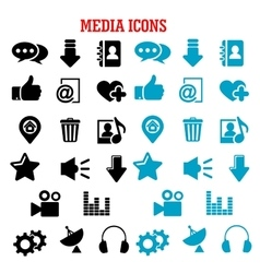 Social media black and blue flat icons set vector