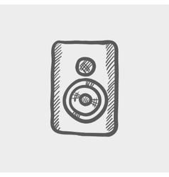 Two way studio speaker sketch icon vector