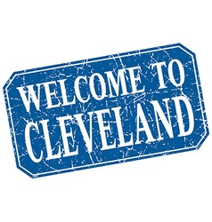 Welcome to cleveland blue square grunge stamp vector