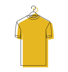 Yellow watercolor silhouette of t-shirt man in vector