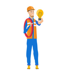 Young caucasian electrician holding lightbulb vector