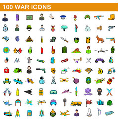 100 war icons set cartoon style vector image vector image