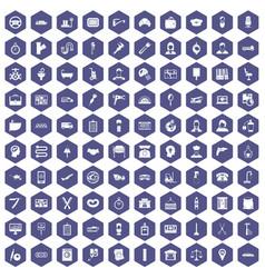 100 work icons hexagon purple vector