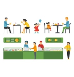 People in a pizzeria restaurant interior flat vector