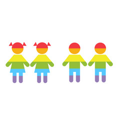 Gay family lgbt rights raibow icons white vector