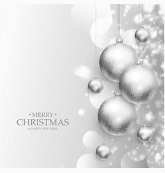 Beautiful christmas balls decoration silver vector