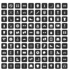 100 sport accessories icons set black vector