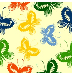 Seamless floral pattern butterfly vector image