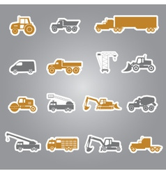 Heavy machinery stickers set eps10 vector