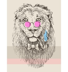 Artwork of hipster lion smoking tube in pink vector